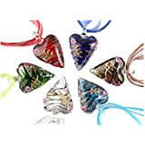 Beautiful Murano Heart Shaped Glass Pendant Necklace 6Pc Mix Color Set