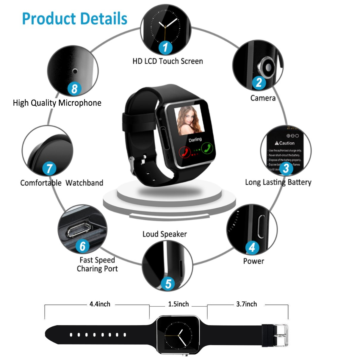 2018 Bluetooth Smart Watch for Andriod phones, iphone Smartwatch with Camera,Waterpfoof Watch Cell Phone ,Smart Wrist Watch Touchscreen for Android Samsung IOS Iphone X 87 6 5 Plus Men Women Youth by Luckymore (Image #5)