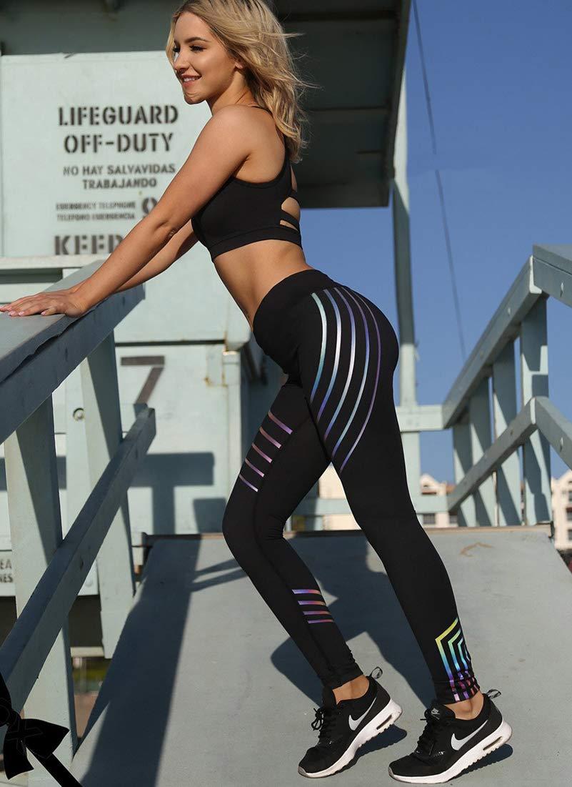 MIWORM Women\'s Printed Leggings,Laser Stripe Yoga Pants,Exercise Workout Soft Sport Pants (Reflective LeggingsA2, S)