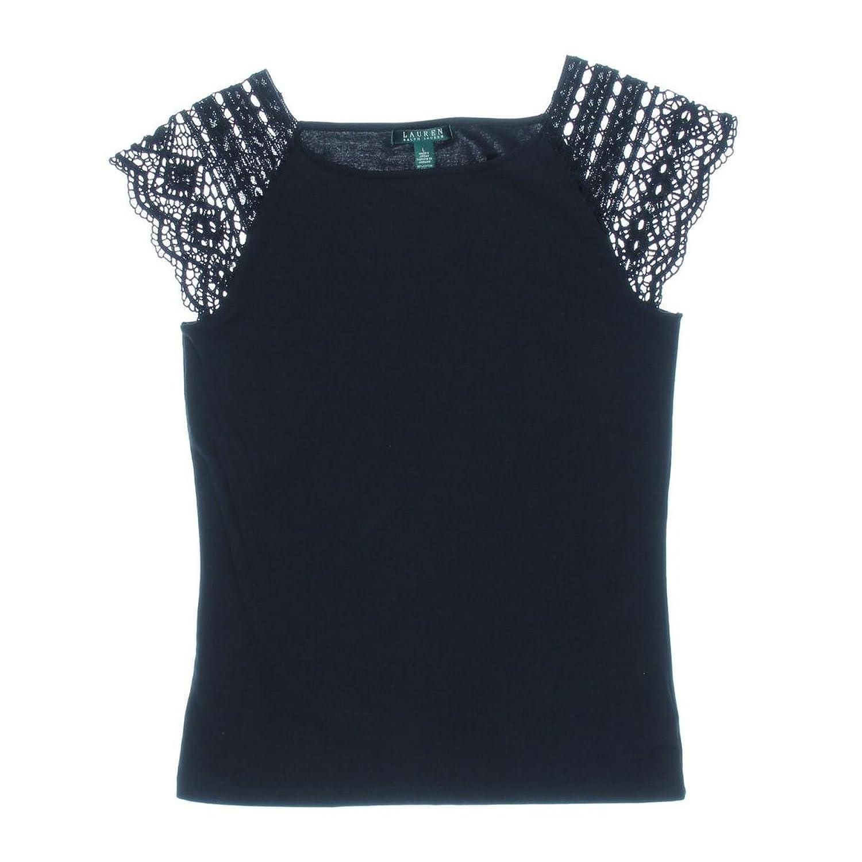Lauren Ralph Lauren Women's Crochet Trim Square Neck Black X-Large