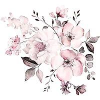 WandSticker4U® - Aquarel wandtattoo vintage bloemenrank in zachtrosa I wandafbeeldingen: 58 x 52 cm I wanddecoratie…