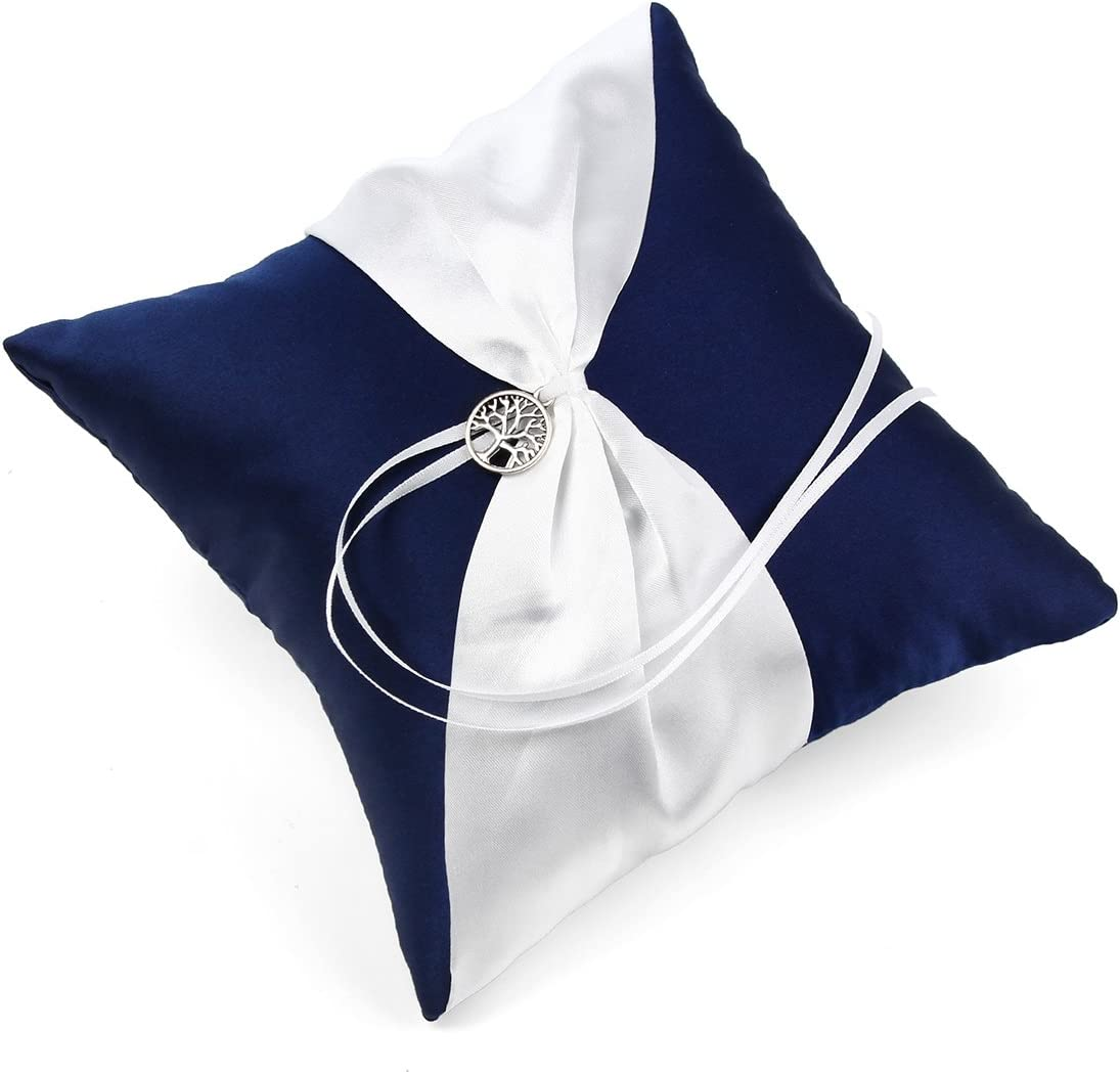 OnePlace Gifts Exclusive Navy Blue Satin Charms Wedding Ring Pillow Bearer 7.8 Anchor Aways