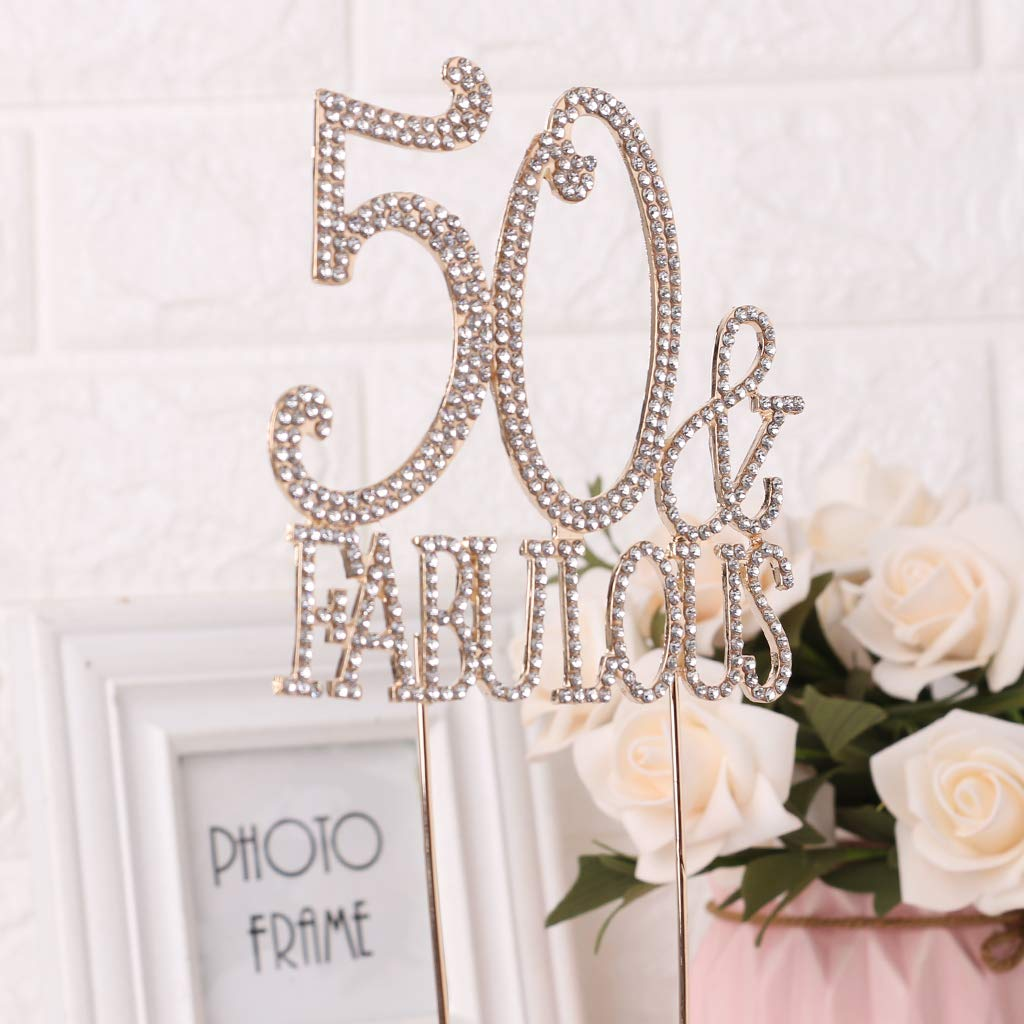 Fifty Fabulous Cake Topper Crystal Number Topper Birthday Party Decor