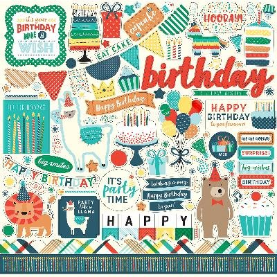Happy Birthday Boy Cardstock Stickers 12