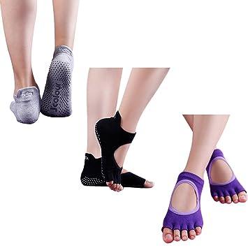 196925a71 Grip Yoga Socks, J'colour Womens 3 Pairs Digital Print Flowers Non Slip Skid