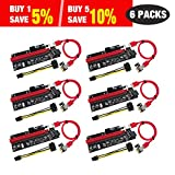 PCIe Riser, N.ORANIE 6-Pack PCI Extender Cable 16X to 1X Powered Riser Adapter Card w/ 60cm USB 3.0 Extension Cable ,4 Solid Capacitors,3 Power Options-Ethereum Mining Bitcoin Litecoin Dedicated(Ver009s)