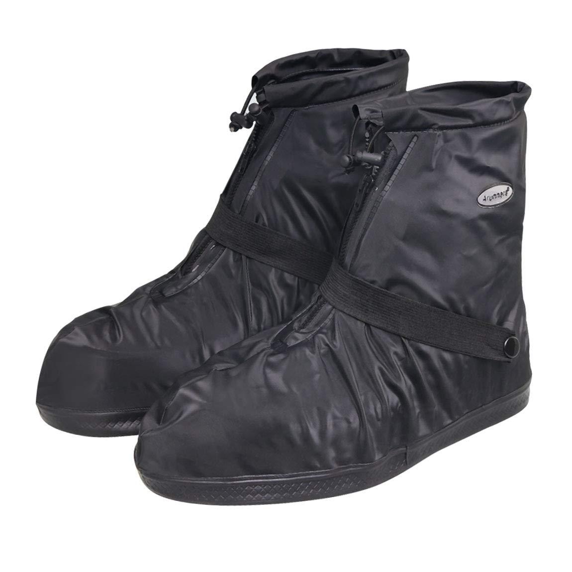 Szat Pro雨ブーツ靴カバー防水再利用可能な折りたたみ式厚み付けソールOvershoesオーバーシューズ。旅行サイクリングキャンプ釣り庭アウトドアレディースメンズ X-Large ブラック X-Large ブラック B074M7N7QN