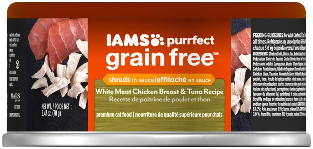 Amazon.com : IAMS PURRFECT Grain Free White Meat Chicken Breast & Tuna  Recipe Canned Cat Food 2.47 oz. (24 Pack) : Pet Supplies