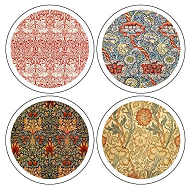 CoasterStone AS9640  William Morris Textiles Collection  Absorbent Coasters, 4-1/4-Inch, Set of 4