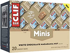 CLIF BAR - Mini Energy Bars - White Chocolate Macadamia Nut Flavor - (0.99 Ounce Snack Bars, 20 Count) (Packaging May Vary)