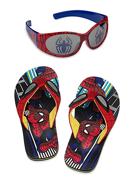 6cce98d0e3f245 Disney Store Spider-Man Flip Flop Sandals and Sunglasses Set