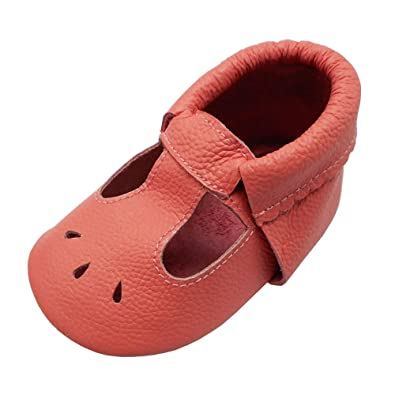 31ac11998ea58 Mejale Baby Summer Shoes Soft Soled Leather Moccasins Infant Walker Sandals  Watermelon Pink