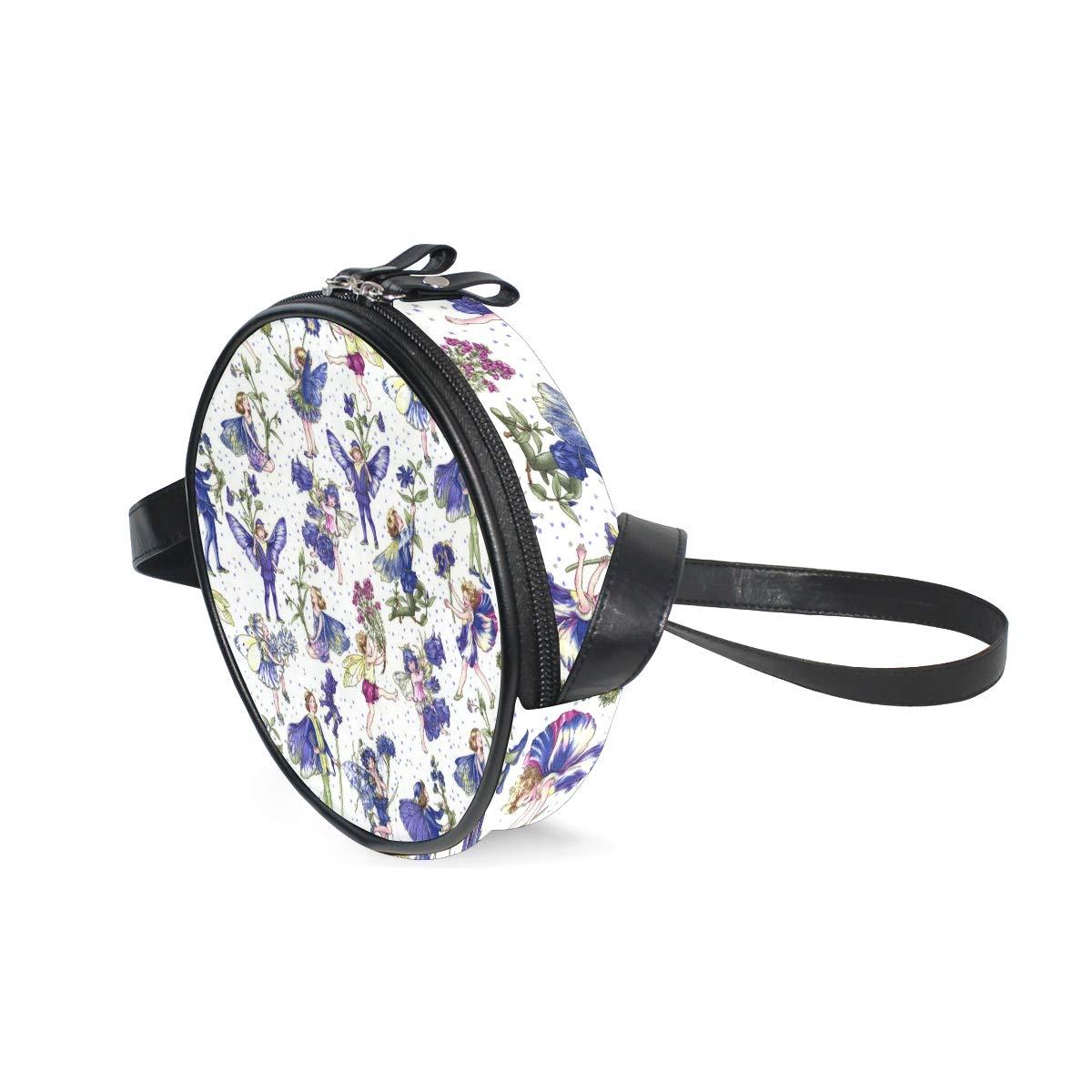 KEAKIA Periwinkle Patterns Round Crossbody Bag Shoulder Sling Bag Handbag Purse Satchel Shoulder Bag for Kids Women