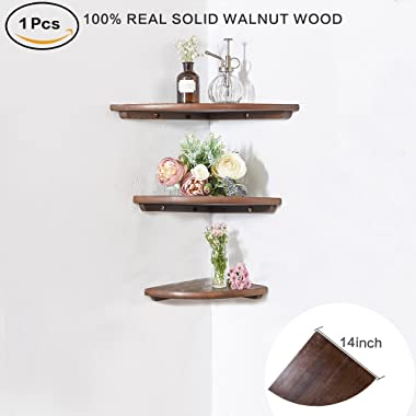 INMAN Wooden Corner Shelf, 1 Pcs Round End Hanging Wall Mount Floating Shelves Storage Shelving Table Bookshelf Drawers Display Racks Bedroom Office Home Décor Accents (Walnut, 14 )