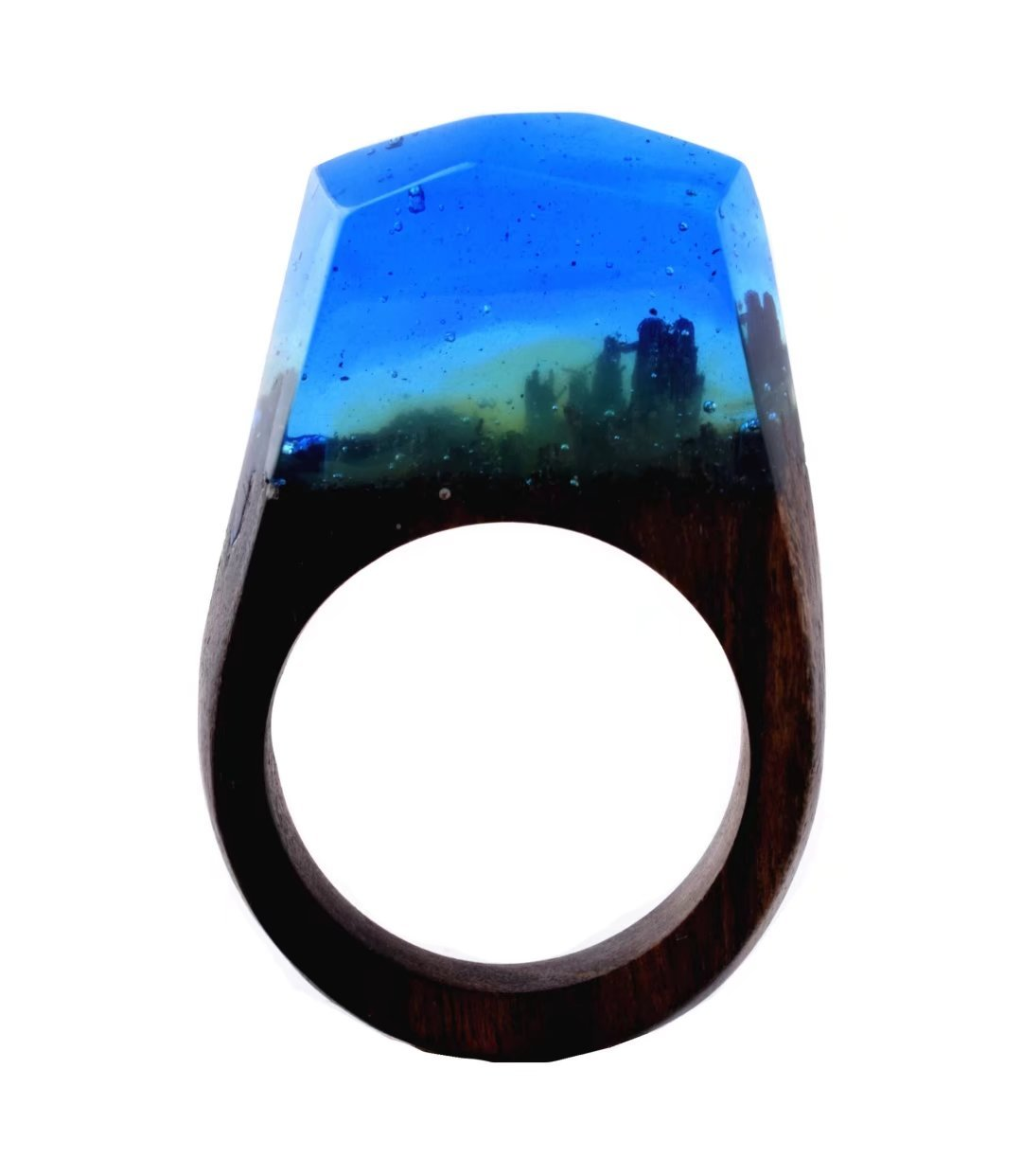 Heyou Love Handmade Wood Resin Ring With Nature Scenery Landscape Inside Jewelry