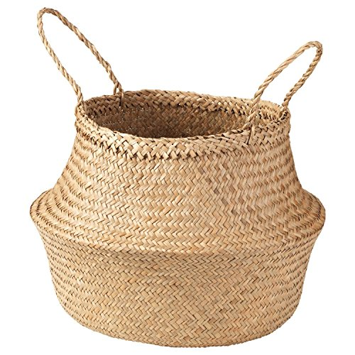 Cocoboo Natural Seagrass Belly Basket | Handmade | Soft Lightweight | Foldable | Storage Organizer Kitchen Bedroom Living Room Baby Nursery Room | Spacesaver (X-Large)