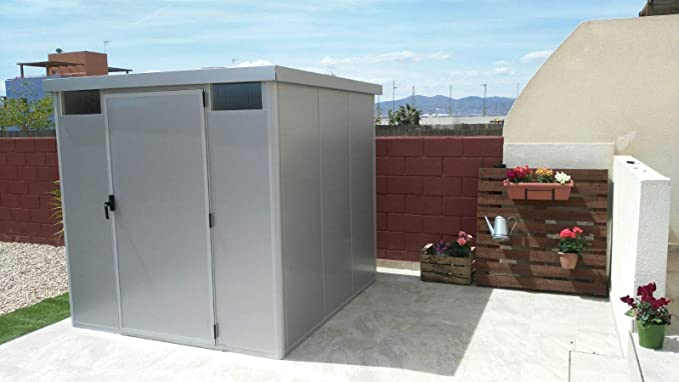 Thermoestank Caseta Metálica Exterior Jardín con Aislamiento térmico Silver Metallic 2.65 x 2.04 MTS: Amazon.es: Jardín