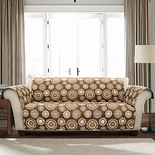 Lush Decor Brown Cleo Sofa Furniture Protector,