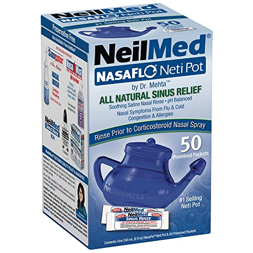 NeilMed NasaFlo Unbreakable Neti Pot with 50 Premixed Packets (Pot Neti Sinu Cleanse)