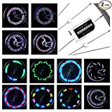 #9: DAWAY LED Bike Spoke Lights - A12 Waterproof Cool Bicycle Wheel Light (2 Pack), Safety Tire Lights for Kids Adult, Very Bright, Auto & Manual Dual Switch, 30 Pattern, Include Battery, 6 Month Warranty