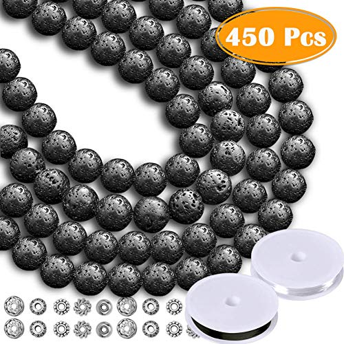Paxcoo 450pcs 8mm Lava Beads Black Lava Rock Stone Beads Bulk Kit with Bracelet Spacers Elastic String for Essential Oils Adult Jewelry Making Supplies