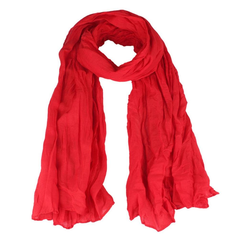 Mikey Store Womens Girl Candy Color silk chiffon scarf Wrap Shawl Pashmina Scarves (Red)