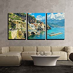 """wall26 - 3 Piece Canvas Wall Art - Beautiful Bay and Famous Resort of Amalfi,Campania Region,Italy,Europe - Modern Home Decor Stretched and Framed Ready to Hang - 24""""x36""""x3 Panels"""