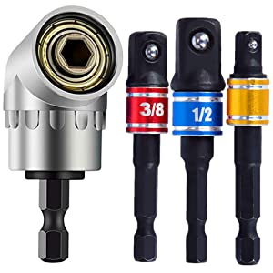 Power Hand Tools, 105 Degree Multifunction Right Steel Angle Driver Angle Extension Power Screwdriver 1/4inch Hex Bit Socket Holder Power Drill Tool + 3Pcs Impact Grade Socket Adapter/Extension Set