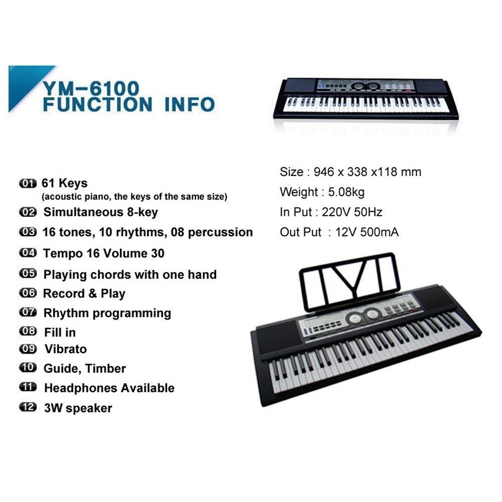 Amazon.com: YM-6100 Digital Acoustic Piano 61 Keyboard + Free Gift): Musical Instruments