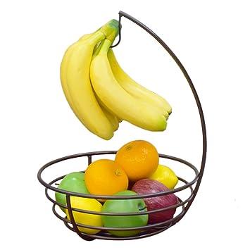 mit Bananehaken aus Metall Obstschale Fruchtkorb Gemüsekorb Korb Bronze Obst und Gemüse Etagère 37 x 27 x 27cm LVPY Obstkorb