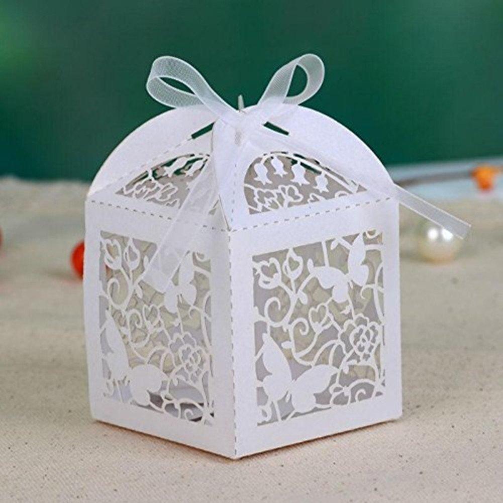 100 Pcs Ivory Diamante Confetti Cone Shape Wedding Favour Boxes With