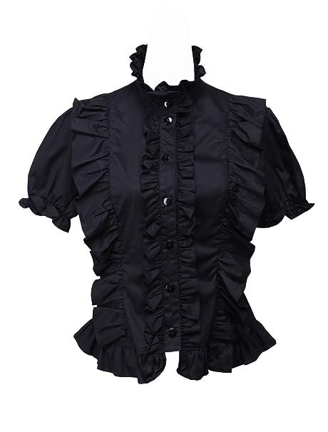 hot sales d9a6c 7a84f an*tai*na* Camicia in Tradizionale Lolita Nera con Maniche a ...