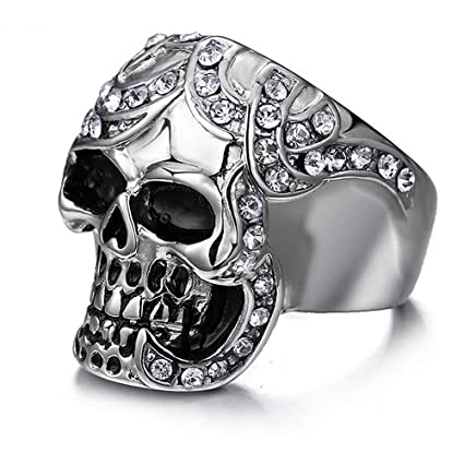 Crystal Skulls Heads 1 pieza Anillos de acero inoxidable para hombre Banda de compromiso de boda