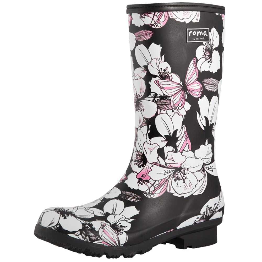 Roma Boots Emma Mid Matte Floral Butterfly 7 B(M) US