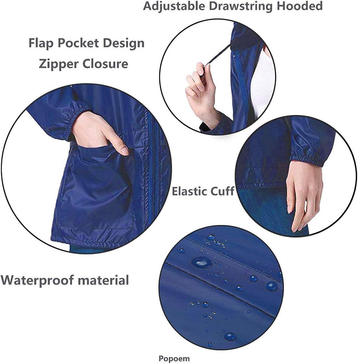 Popoem Womens Lightweight Hooded Rain Jacket Waterproof Raincoat Windbreaker Packable Active Outdoor Zipper Hoodie