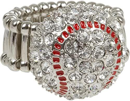 Crystal Baseball Softball Bling Ring with Red Enamel - Stretches to Fit Ring Sizes 8 to 11