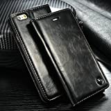 Iphone 6s Case, Luxury Wallet Flip Leather Case for Iphone 6s - Magnetic Cover (Black)