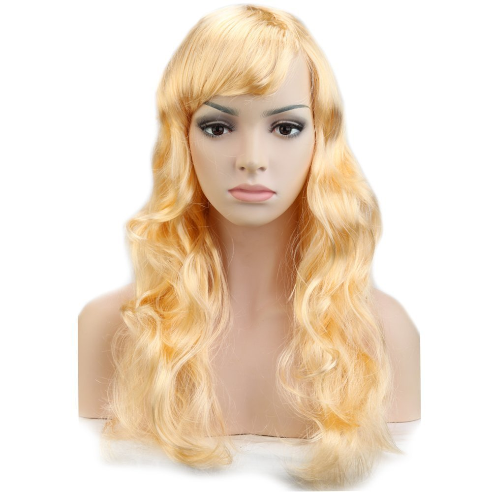 Hallowee Cosplay Must Have Long Wavy Big Wave Synthetic Wig Free Cap With Oblique Bangs Multiple Colors For Anime Costume Theme Dancing Ball And Party Under $10 On Sale Light Blonde
