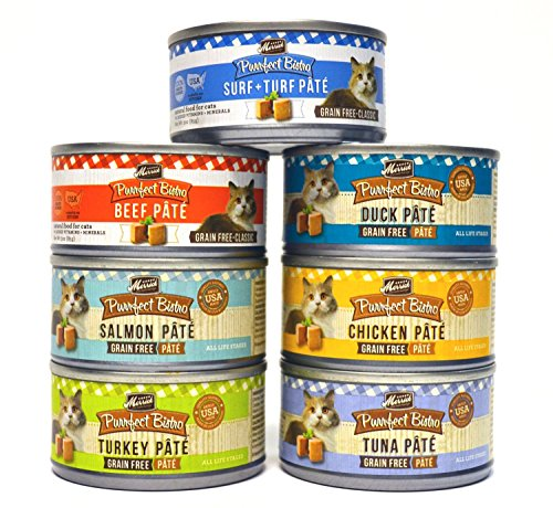 Merrick Purrfect Bistro Pate Canned Cat Food Variety Pack - 7 Flavors (Chicken, Duck, Tuna, Turkey, Salmon, Beef, and Surf + Turf) - 3 Ounces Each (14 Total Cans - 2 of Each Flavor)