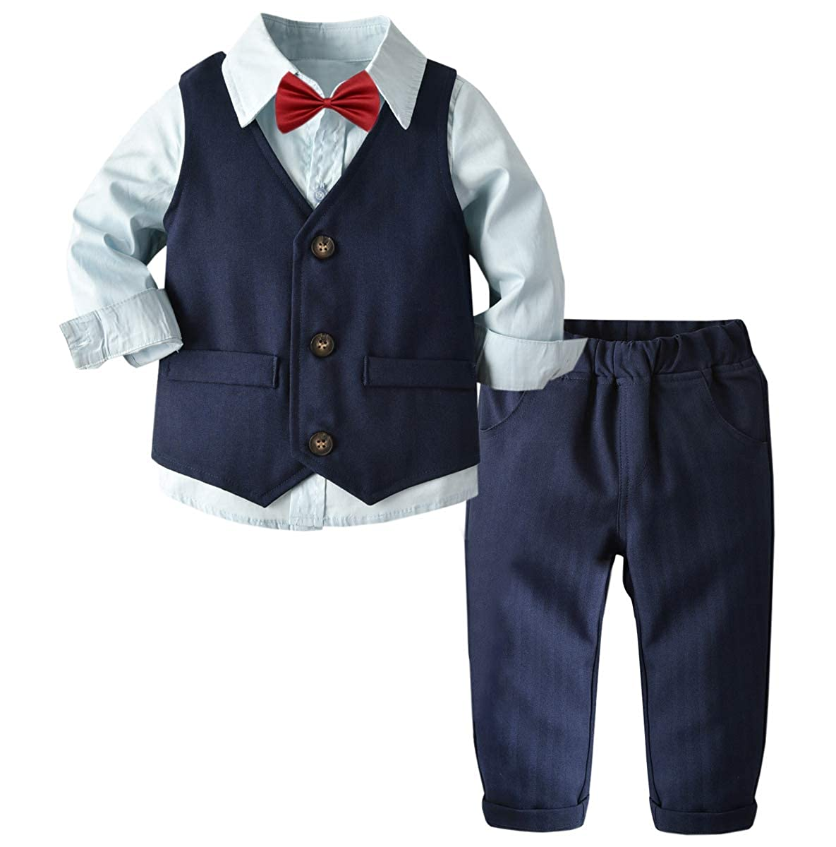 Pants Set 6 Years Betusline Baby /& Little Boys Tuxedo Dress Shirt 12 Month Vest