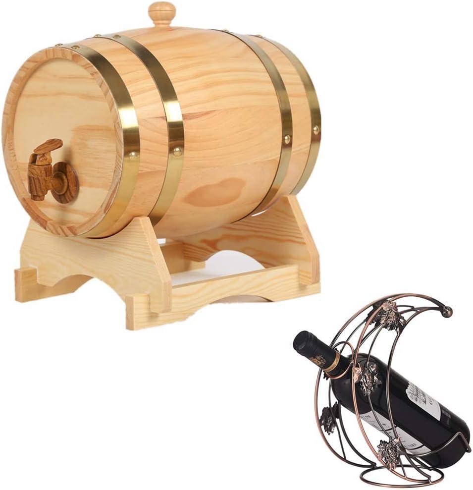 NACK Oak Aging Barrel 20L, Cubo de Almacenamiento de Vino de Roble Estilo Vintage con un Grifo Cerveza Vino Whisky Miel Puerto Ven con un Botellero (Color : Natural, Size : 20L)
