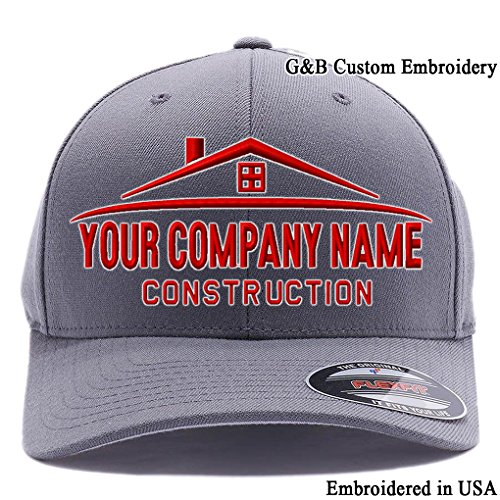 G&B Custom Embroidery Custom Hat. Your Company Name Embroidered. (S/M, Grey)