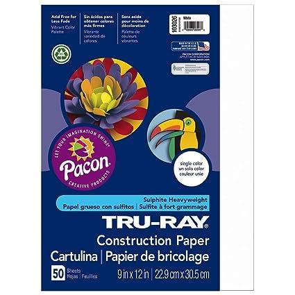 Amazon.com: Pacon Tru-Ray Construction Paper, Blanco: Home ...