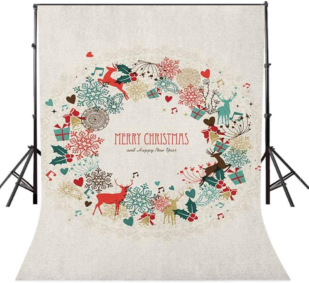 8x12 FT Vinyl Photography Backdrop,Vintage Garland Inspired Round with Hand Drawn Style Cute Seasonal Figures Print Background for Child Baby Shower Photo Studio Prop Photobooth Photoshoot