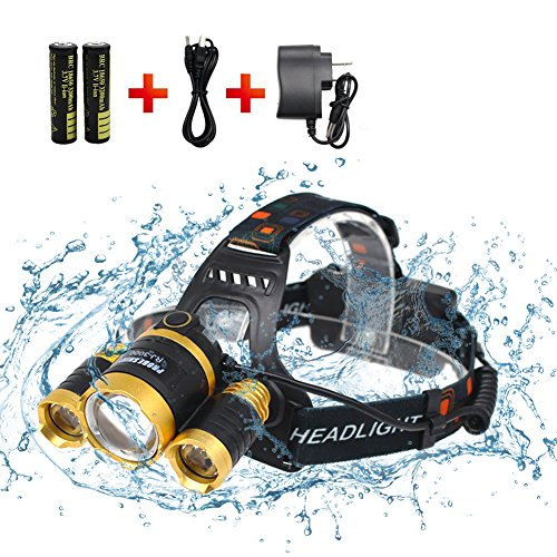 Waterproof Headlamp,Brightest 4 Modes LED Headlight, Surefire Flashlight with 120°Rotating Zoomable Light- 18650 Rechargable Battery Adjustable Headband,Best for Camping Running Hiking, Festival Gift