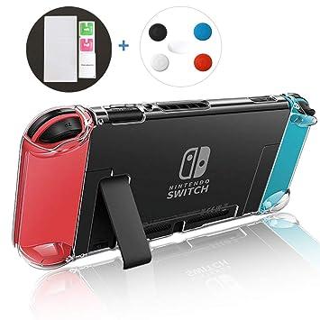 Funda carcasa para Nintendo Switch + protector de pantalla, carcasa protectora para interruptor + tapa de silicona para Joy-con + Protector de ...
