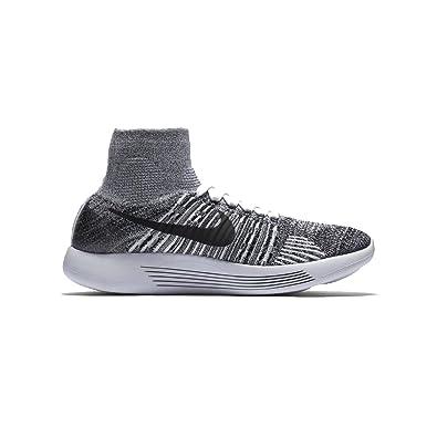 Womens Nike Flyknit LunarEpic Running Shoe WHITE/BLACK 6