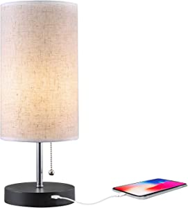 Grace Modern Desk Lamp, USB Table Lamp, Bedside Table & Desk Lamp with Black Wooden Base & Soft Ambient Lighting, Useful USB Charging Ports Perfect for Table in Bedroom Living Room or Office