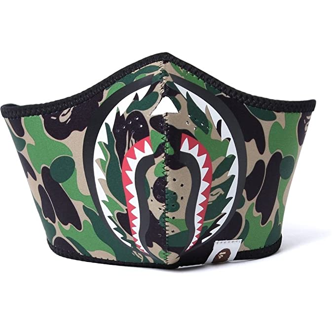 A Bathing Ape Bape Green Camouflage Shark Jaw Neoprene Sky Face Mask Camping