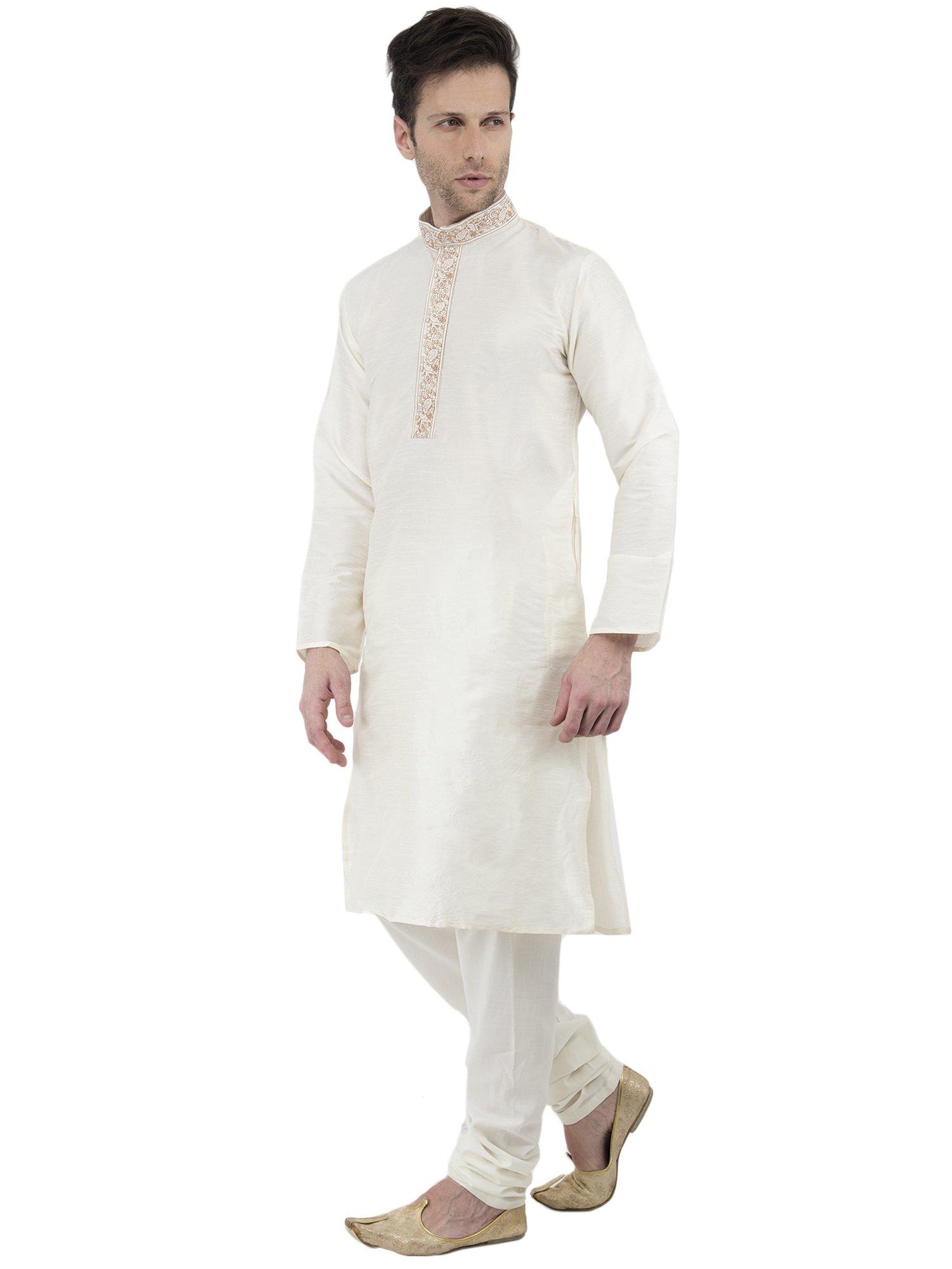 Long Sleeve Button Down Shirt Mens Kurta Pajamas Set Handmade Traditional Indian Costume Offwhite -M by SKAVIJ (Image #3)